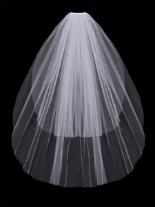 EnVogue Bridal Two Layer White Fingertip Wedding Veil With Rhinestones