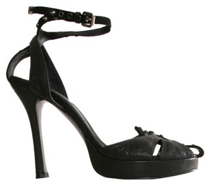 Thomas Wylde Wylde Studs Studded Leather Heels Silver Adjustable Ankle Strap Suede black Sandals