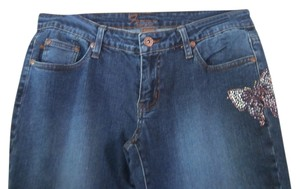 Forever 21 Long Embellished Boot Cut Jeans-Medium Wash