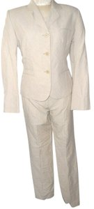 Calvin Klein Calvin Klein Khaki Colored Linen Button Up Blazer & Pants Suit Size 6/10