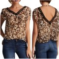 Costa Blanca Designer Animal Print Sexy Low Back V-neck Beaded Date Night Casual Weekend Sheer Chic Trendy Fun Top Leopard Image 0