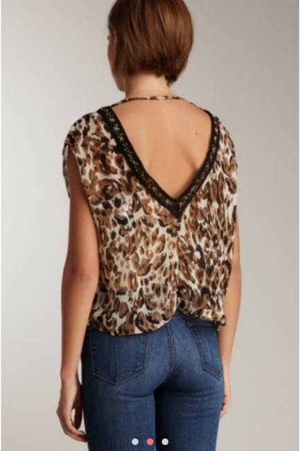 Costa Blanca Designer Animal Print Sexy Low Back V-neck Beaded Date Night Casual Weekend Sheer Chic Trendy Fun Top Leopard