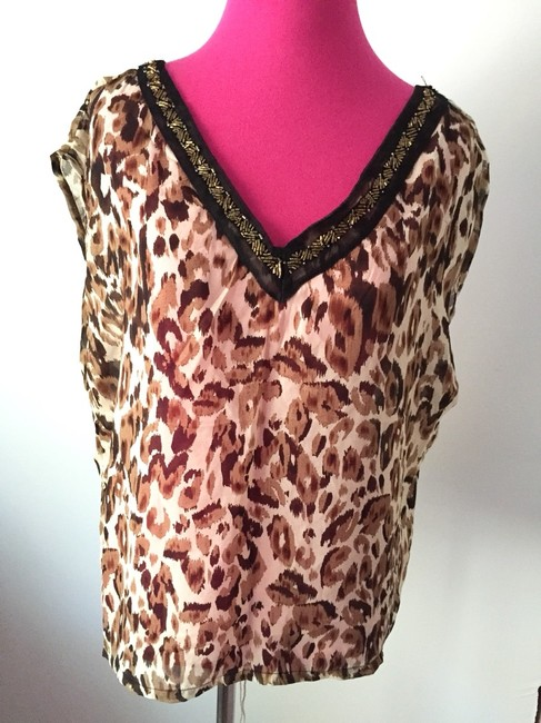Costa Blanca Designer Animal Print Sexy Low Back V-neck Beaded Date Night Casual Weekend Sheer Chic Trendy Fun Top Leopard Image 3