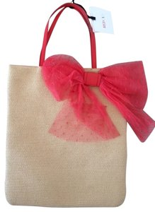 RED Valentino Straw Bow Tote in Coral and Natural