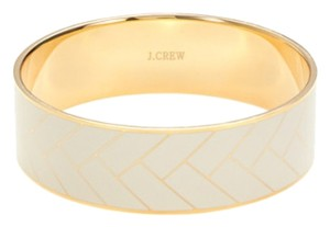J.Crew J. Crew Bangle bracelet in Cream & Gold Herringbone.