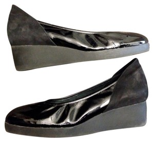 Arche Nubuck Leather Comfort Black Wedges