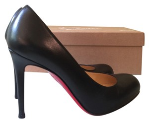 Christian Louboutin Leather Red Sole BLACK Pumps