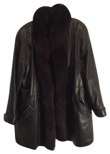 SOFT LEATHER JACKET W/FOX TRIM BLACK Leather Jacket