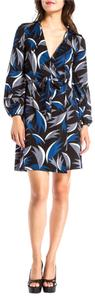 Diane von Furstenberg short dress Blue/Black/Gray/White Dvf Wrap on Tradesy
