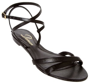 Delman Flats Gladiator Strappy Leather black Sandals