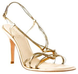Badgley Mischka Heels Gold Heels Strappy Heels Gold/Tan Pumps