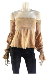 Andrew & Co. Off Summer Boho Women Free People Top Beige