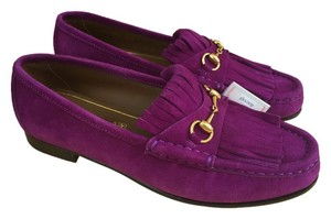 Gucci Suede Leather Nubuck Slip On Purple Flats