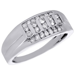 Jewelry For Less 10k White Gold Diamond Wedding Band Mens Channel Set 9mm Ring 1/2 Ct