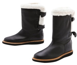 RED Valentino Ugg Sherpa Sheepskin Leather Black Boots
