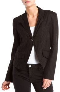 Kenzo Striped Textured Jacket Grey Single Button Pockets Work Attire black Blazer
