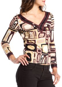 Emilio Pucci Multicolor V-neck Blouse Shirt T Shirt Brown, black, white print