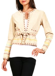 Cacharel Suede Leather Vintage Boho Belt Jacket