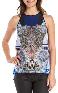 Clover Canyon Sleeveless Printed Bejeweled Fishtail Top blue