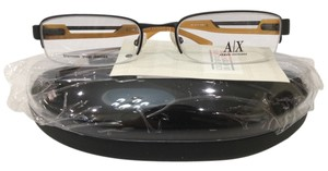 A|X Armani Exchange New Armani Exchange AX127 Col 0JGH Black/Orange Metal Semi Rim Eyeglasses 53mm