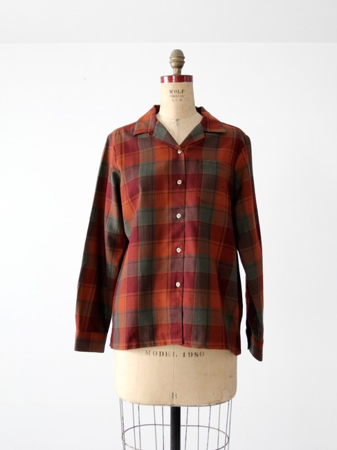 Pendleton Plaid Button Down Shirt Red Image 3