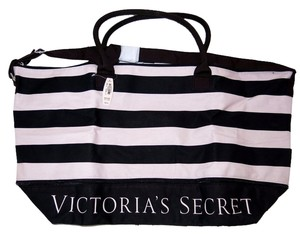 Victoria's Secret Travel Duffel Black and Pink Striped Travel Bag