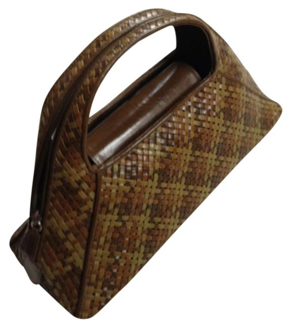 Olive & Brown Woven Leather Baguette Olive & Brown Woven Leather Baguette Image 1