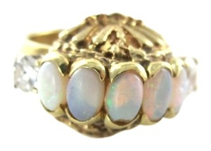 14KT YELLOW SOLID GOLD RING VINTAGE OPAL & WHITE SZ 4.5 ANTIQUE FINE JEWELRY