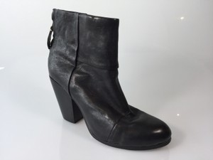 Rag & Bone & Cap Toe Ankle Strap Black Boots