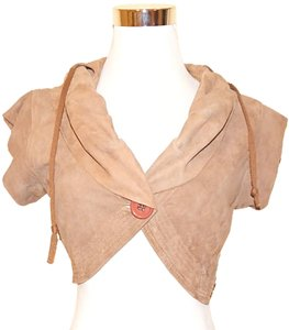 Mike & Chris Suede Crop Top Cropped Hooded Vest