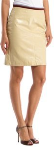 Miu Miu Crackled Varnished Leather Satin Mini Skirt cream