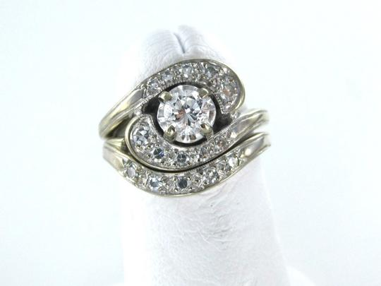 Other 14KT WHITE SOLID GOLD TWO RING 16 DIAMOND WEDDING BAND BRIDAL RINGS SZ 4.5 FINE