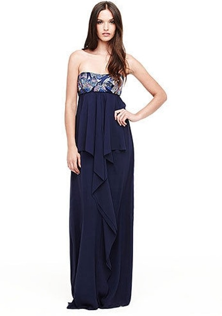 Item - Navy Blue Silk Thistle Beaded Strapless Gown Eg0004 Formal Bridesmaid/Mob Dress Size 0 (XS)