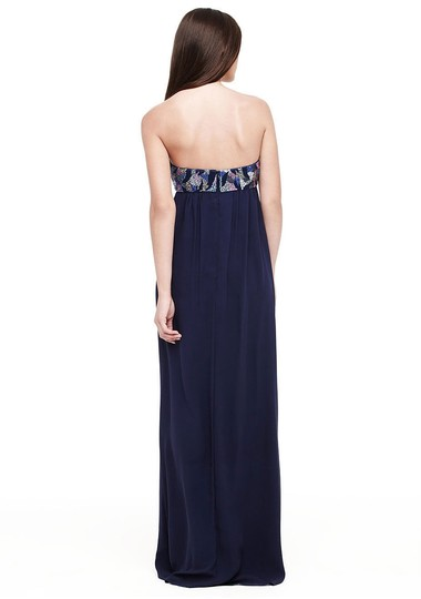 Nicole Miller Navy Blue Silk Thistle Beaded Strapless Gown Eg0004 Formal Bridesmaid/Mob Dress Size 0 (XS) Image 1