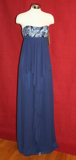 Nicole Miller Navy Blue Silk Thistle Beaded Strapless Gown Eg0004 Formal Bridesmaid/Mob Dress Size 0 (XS) Image 2