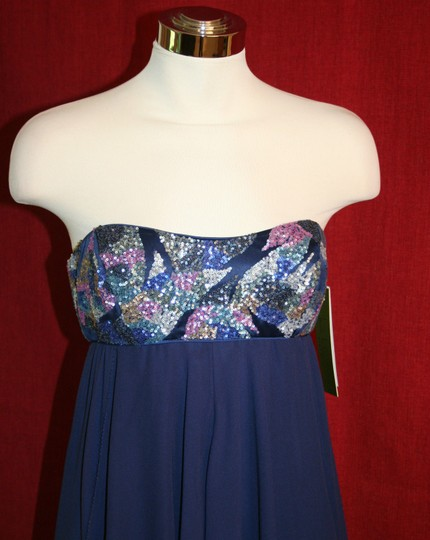 Nicole Miller Navy Blue Silk Thistle Beaded Strapless Gown Eg0004 Formal Bridesmaid/Mob Dress Size 0 (XS) Image 3