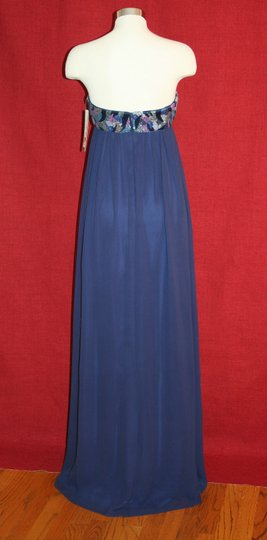 Nicole Miller Navy Blue Silk Thistle Beaded Strapless Gown Eg0004 Formal Bridesmaid/Mob Dress Size 0 (XS) Image 5