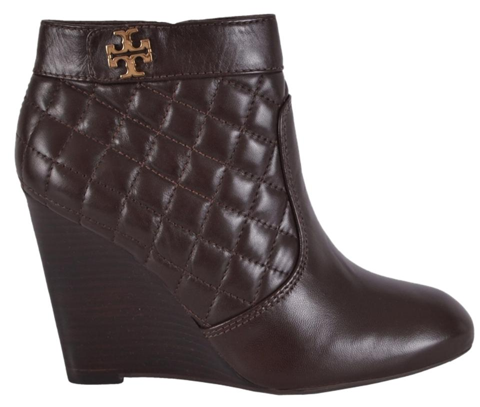 Tory Burch Brown New Ankle Women's Leila Quilted Leather Wedge Ankle New Boots/Booties 126451
