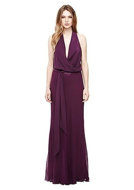 Item - Sherbert Plum Rayon & Spandex Stretch Woven Sequin Wrap Gown Ct0045 Formal Bridesmaid/Mob Dress Size 4 (S)