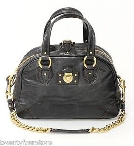 Marc Jacobs Collection Dark Leather Lock W Chain Strap Satchel in Brown