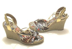 Marc Fisher Satin Wedge Espadrille Lace Up Multi-Color Platforms