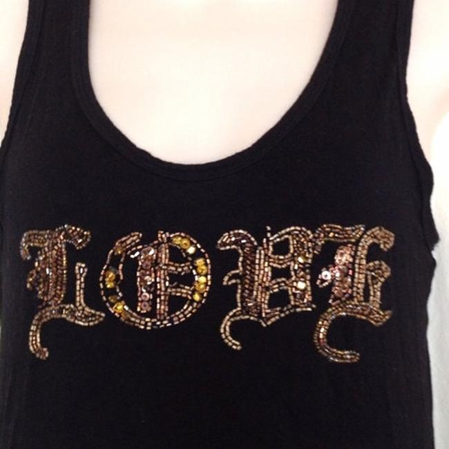 Chick by Nicky Hilton Designer Love Beaded Racerback Beads Sequins Stretch Casual Weekend Sexy Top Black Image 2