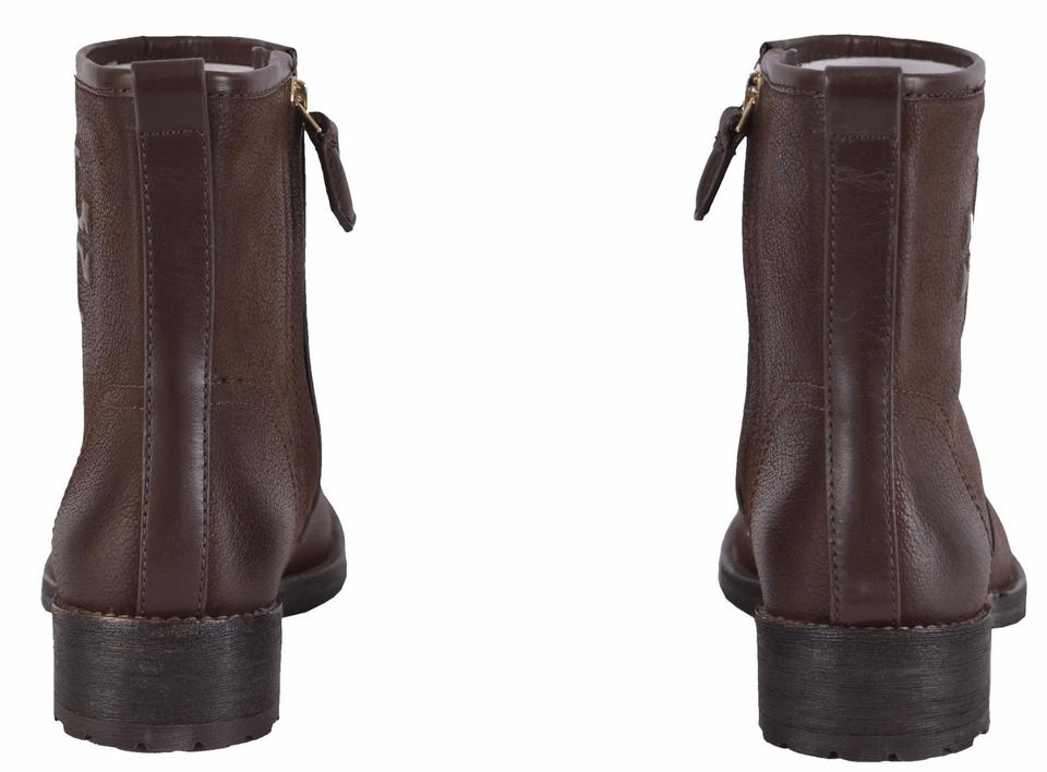 1ac08d5a65b1 Tory Burch Brown Simone Distressed Leather Ankle Boots Booties Size ...