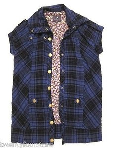 Forever 21 21 Short Sleeve Plaid Snap Button In Black Purple Jacket