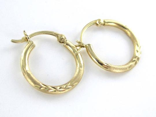 Other 14KT SOLID YELLOW GOLD EARRINGS HOOP LEAF DESIGN HALLMARK 1.0 GRAMS JEWELRY FINE
