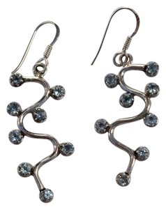 bjewelled Sterling Silver And Blue Topaz Earrings