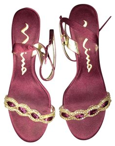 Nina Shoes Open Toe Slingback Formal Maroon with Gold and Silver detailing Sandals