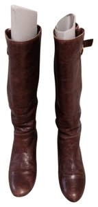 ALDO Knee Leather Wedge Cognac Boots