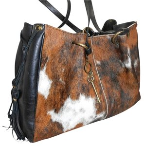 Maurizio Taiuti Fur Coats Pony Hair Black Fur Tote in Brown/Tan/Black/ White Multi