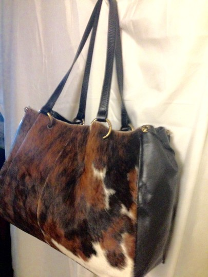 Maurizio Taiuti S Fur Coats Pony Hair Fur Tote in Brown/Tan/Black/ White Multi